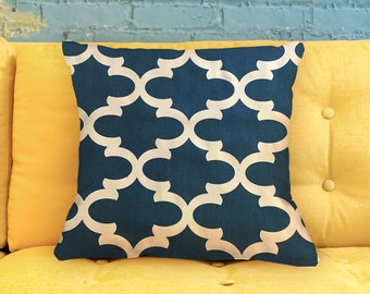 Modern Lattice - Trellis OCEAN BLUE Pillow Cover 18""