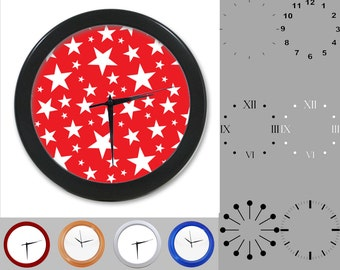 Tiny Star Wall Clock, Patriotic Design, American, July Fourth, Customizable Clock, Round Wall Clock, Your Choice Clock Face or Clock Dial