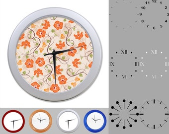 Orange and Peach Floral Wall Clock, Flower Vine Design, Classic, Customizable Clock, Round Wall Clock, Your Choice Clock Face or Clock Dial