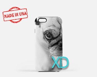 Pug iPhone Case, Pug Half Face iPhone Case, Puppy, Dog iPhone 8 Case, iPhone 6s Case, iPhone 7 Case, Phone Case, iPhone X Case, SE Case