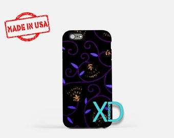 Artistic Floral Design iPhone Case, Purple Floral Design iPhone 8 Case, iPhone 6s Case, iPhone 7 Case, Phone Case, iPhone X Case, SE Case