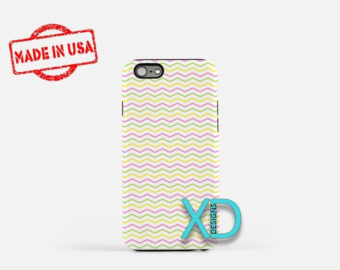 Spring Chevron Phone Case, Spring Chevron iPhone Case, Curved iPhone 7 Case, Yellow, Curved iPhone 8 Case, Spring Tough Case, Clear Case