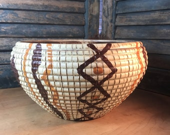 Large Vintage Italian Bellini Basketweave Pottery Bowl