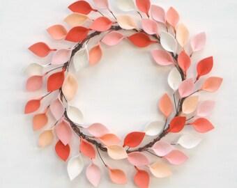 """Spring Felt Leaf Wreath in Coral, Peach, and Ivory - 100% Wool Felt Modern Wreath - Bohemian Decor - 15-16"""" size"""
