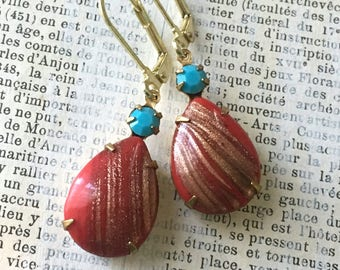 Vintage Rhinestone Earrings - Red and Turquoise