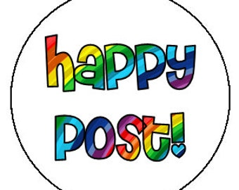 happy post stickers 35mm round - bold rainbow