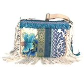 Fringed crossbody purse flower and zig zag fabric with recycled jeans