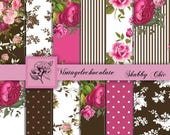 ON SALE Fuchia Digital Scrapbook Paper, Digital Shabby Pink Rose Paper,  Brown Digital Paper, Shabby Pink Roses, Vintage Rose Papers. No. P1