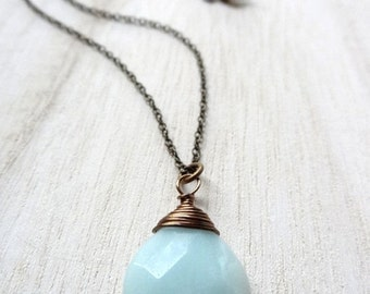 ON SALE Simple Blue Amazonite Bronze wire wrapped Pendant Necklace