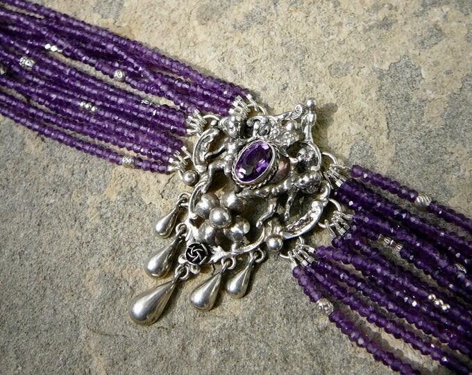 Featured listing image: Repurposed 800 Silver Brooch Bracelet, Multi Strand Amethyst Gemstone Bracelet, Renaissance Revival Jewelry, Peruzzi Style Bracelet