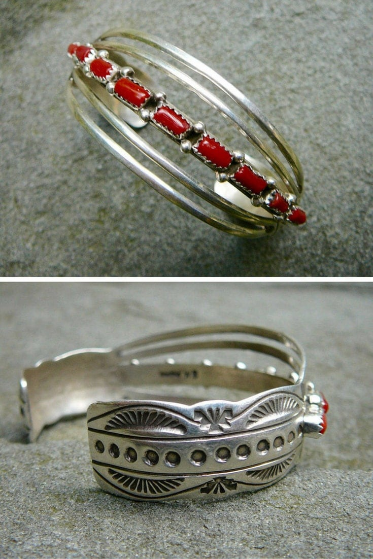 Native American Coral Bracelet, Vintage Cuff Bracelet