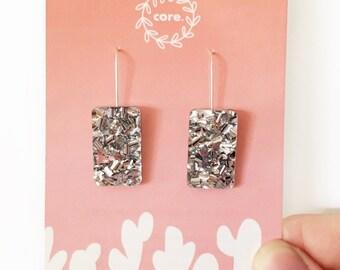 Silver Glitter Gem Dangles