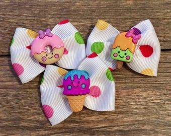 Set of 3 Sweet Treats Hair Bows-Desserts Bows-Donut Baby Bow-Donut Dog Bow-Tiny Ice Cream Bow-Tiny Popsicle Bow-Sweets Baby or Dog Hair Bows
