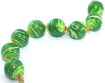 Polymer clay beads in greens, elegant round stripes beads with glitters, green strips beads for Jewelry making, set of 8 unique beads