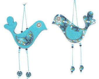 SALE 20% OFF - Wall decor love birds, handmade love birds, home decor ornament, Polymer clay birds, birds couple in blue and turquoise, Wedd