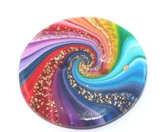 Big rainbow button, unique spiral button with gold touch, polymer clay colorful swirl button, button for bag decoration