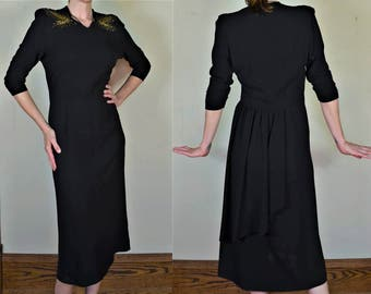 """1940s Black Rayon Crepe Dress with Gold Beaded & Sequin Shoulders Bust 40"""""""