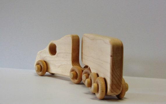 Natural Wood Toy Big Rig Truck
