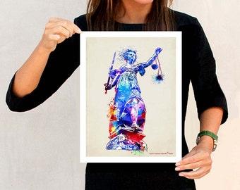 """Watercolor Lady Justice"""" - 11"""" x 14"""", Attorney print, Lawyer Gift, Lady Justice art, Pass the Bar gift, Lawyer Office Decor, Fine Art"""