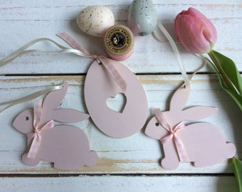 Easter Bunny - Easter Decorations - Easter Gift - Easter Egg - Wooden Easter Decorations - Set of 3 Easter Decorations - Bunny Decorations -