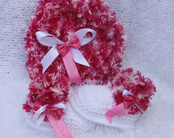 hand knitted baby girl hat booties /.shoes white and furry pink  with baby dior ribbon 0/3m