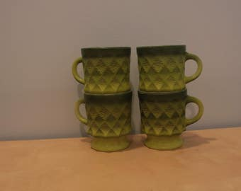 Set of Four Fire King (Anchor Hocking) Kimberly Mugs in Green