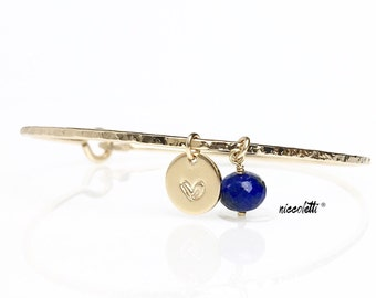 Genuine Lapis Lazuli Personalized Charm Bracelet / 14k Gold or Sterling Silver Royal Blue Gemstone Bangle / Alternate September Birthstone