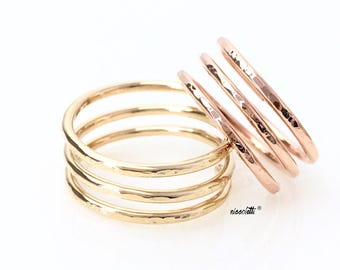 Triple Band Cage Coil Ring / Sterling Silver / 14k Gold Filled Knuckle Ring / Rose Gold Midi Ring / Adjustable Thumb Ring Gift for Her
