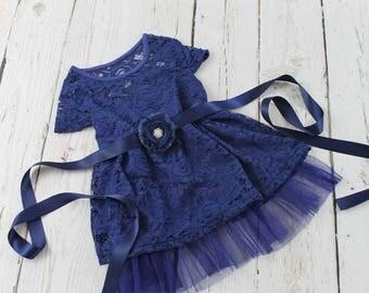 Navy Flower Girl Dress Rustic Flower Girl Dress Navy Jr Bridesmaid Dress Navy Country Flower Girl Dress Navy Lace Flower Girl Dress