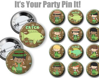 Gon' Fishing Party Favors 2.25 inch pinback button, Fishing Pins, badge, Camping, Fishing theme Birthday Party, Backpack pins, Summer Pins