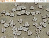 FLASH SALE Bride and Groom Wood Hearts, Wood Confetti Engraved Love Hearts- Rustic Wedding Decor- Table Decorations- Tiny Wooden Hearts
