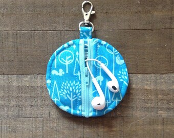 Blue Scenic Trees - Circle Zip Earbud Pouch Coin Purse Lip Balm Holder