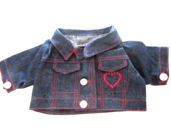 "Large Doll or Bear Jacket Dark Blue Denim Two Faux Pockets Heart Embroidery 9.5"" Inch Waist For Build-A-Bear or Similar"