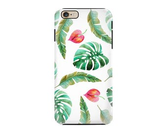 Tropical Banana Leaves iPhone Case or Galaxy Case Summer Green White and Pink Resort Themed Phone Case Cover For iPhones OR Samsung Galaxy