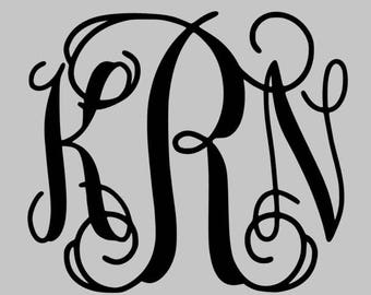 "4"" Script Monogram Decal"
