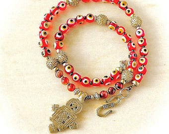 Ethiopian Cross, Turkish Eye Bead Necklace.  Evil Eye beads.  Red Agate beads.  Coptic Cross.  Good Ju ju, Tribal  necklace, Boho style,