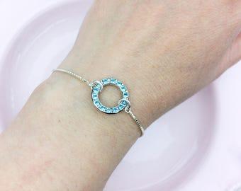 One sterling silver bracelet / Bridesmaid gift /  Bridal party gifts / Mother of the bride bracelet / Mother of the groom bracelet