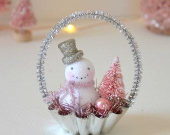 Spun Cotton Snowman / Christmas Ornament / Retro Style