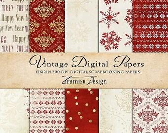 ON SALE Christmas Scrapbook Papers , Digital Paper Pack 28 -Vintage Christmas