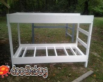 Cute Doodlebug bunkbed, white bunkbed, super strong bunkbed, wood bunkbed, bunk bed, economical bunkbed