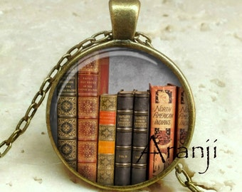 Book pendant, book necklace, book jewelry, bookshelf necklace, bookshelf pendant, gift for bookworm Pendant#HG236BR