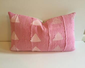 SALE !!!Faded Pink African Mudcloth lumbar pillow cover