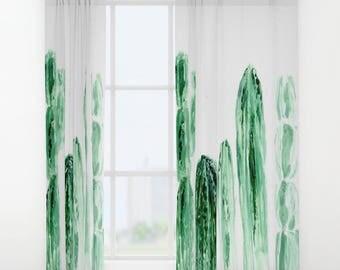 Cactus Curtains, cactus window curtains, window curtain, window curtains, cactus window, cactus curtain, white curtains, green curtains