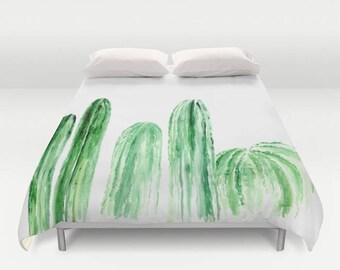 Cactus Duvet Cover, green white duvet, white duvet cover, green duvet cover, cactus bedding, cactus bed cover, modern duvet cover
