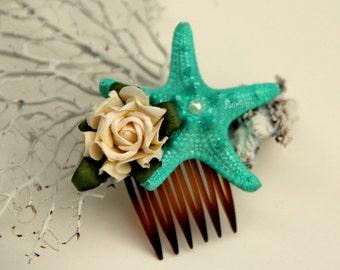 MINI deep aqua starfish hair comb, beach wedding hair comb, mermaid hair piece, starfish hair piece, mermaid headpiece, little mermaid