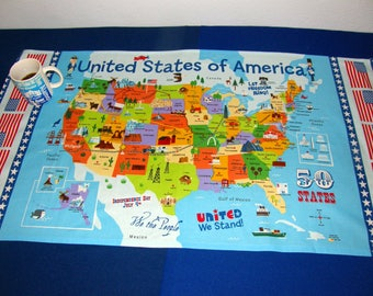 Campers!  USA Table Cloth United States of America Map - Instant Friendship Conversation - Where have you been?  US States and landmarks