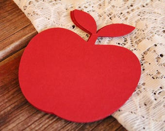 Apple Die Cut, LARGE, Red Apple, Rustic Wedding, Wedding Favor Tags, Wedding Favors, Gift Tags