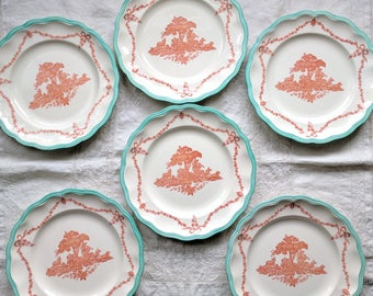 Antique Copeland Spode dinner plates, RARE Peter Pan design / 10.5 inch dinner plates signed and stamped / coral and turquoise / shepard boy