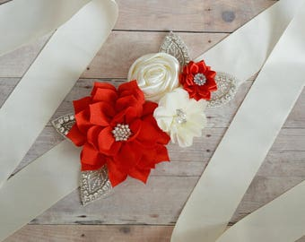 Wedding sash, Flower Girl Sash, Ribbon Sash, Bridal Sash, Wedding Shower Sash, Bridesmaid Sash Bachelorette ivory red cream