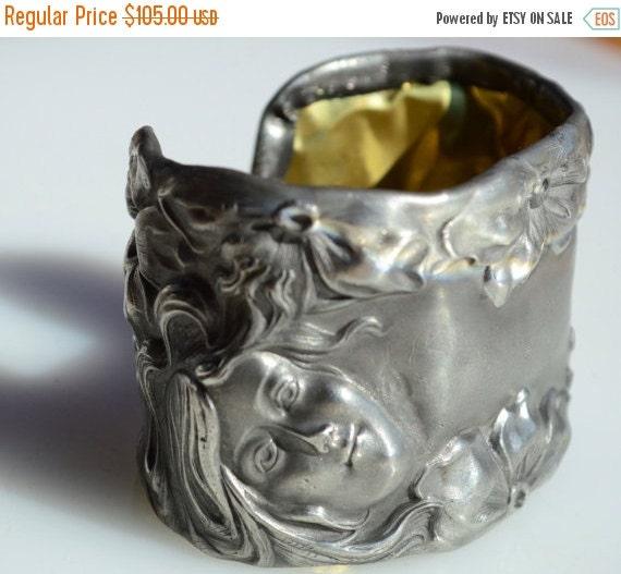 SALE 40% OFF Antique Silverplated Goddess Maiden Floral Victorian Art Nouveau Wide Repousse Cuff Bracelet Wide Lady Face Raised Statement Sp